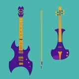 Satz Streichinstrumente Purpurrote elektrische Violine stock abbildung