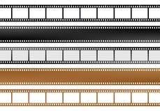 Satz Streifen des Films und leere des Filmes der Kamera von verschiedenen Farben mit leeren Fenstern und ohne Fenster lizenzfreie abbildung