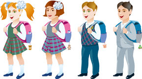 Satz Studenten mit Rucksack auf einem weißen Hintergrund Lizenzfreie Stockfotografie