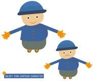 Satz Sturzhelm-Mann-Zeichentrickfilm-Figur in den verschiedenen Haltungen Stockbild