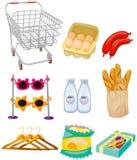 Satz supmerket Lebensmittelgeschäfte Stockfotografie
