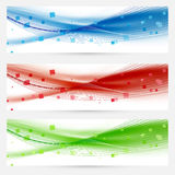 Satz Swooshgeschwindigkeitswellenzusammenfassungs-Netztitel Lizenzfreies Stockfoto