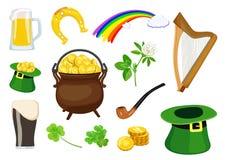 Satz Symbole des St- Patrick` s Tagesfeiertags Auch im corel abgehobenen Betrag lizenzfreie abbildung