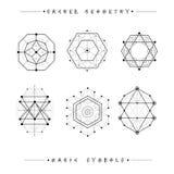 Satz Symbole und Elemente Alchimie, Religion, Philosophie, Geistigkeit, Hippie-Symbole und Elemente Geometrische Formen stockfotografie