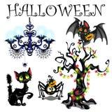 Satz Symbole von Halloween auf weißem Hintergrund Stockfotos