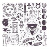 Satz Symbolsammlungs-Skizzenhand des modischen Vektors der geheimen gezeichnet Lizenzfreie Stockfotos