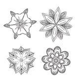 Satz symmetrische abstrakte Blumen der Schattenbilder Stockfotografie