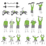 Satz systematische Bodybuildingübungen Lizenzfreie Stockfotografie