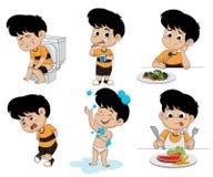 Satz tägliche Tätigkeitsprogramme, Kind, das ein Bad, lustiges littl nimmt lizenzfreie abbildung