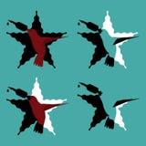 Satz Tätowierungslogos mit Kolibri mit Drehmaschine beak stattdessen in einen Stern Stockfotografie