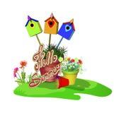 Satz Töpfe mit Blumen, Vogelhäuser, Gras Lizenzfreie Stockfotos