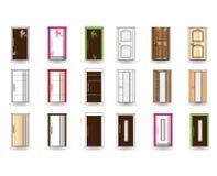 Satz Türen auf Hintergrund Lizenzfreies Stockfoto