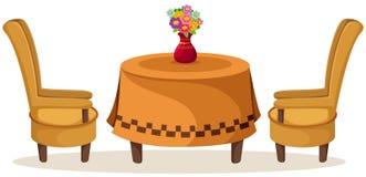 Satz Tabelle und Stühle mit Blumen Lizenzfreies Stockfoto