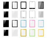 Satz Tabletten-PC hergestellt in den verschiedenen Arten: Realistische, flache, lineare Ikone, bunt Vektorillustration von 20 tra Lizenzfreie Stockbilder