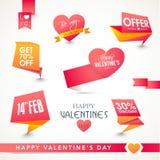 Satz Tags oder Aufkleber für glücklichen Valentinsgruß-Tag Lizenzfreie Stockfotos