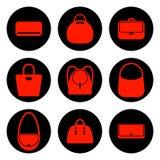 Satz Taschenikonen der roten Frauen Lizenzfreies Stockbild