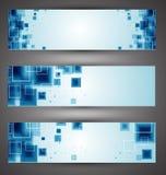 Satz Technologienetzfahnen Stockfotos