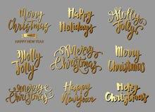 Satz Text der frohen Weihnachten, Hand gezeichnete Beschriftung und guten Rutsch ins Neue Jahr-Typografie entwerfen Stockfotos