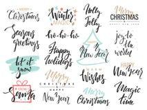 Satz Text der frohen Weihnachten, Hand gezeichnete Beschriftung und guten Rutsch ins Neue Jahr-Typografie entwerfen Für Karten Ei Lizenzfreies Stockbild