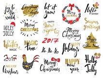 Satz Text der frohen Weihnachten, Hand gezeichnete Beschriftung und guten Rutsch ins Neue Jahr-Typografie entwerfen Für Karten Ei Lizenzfreie Stockfotos