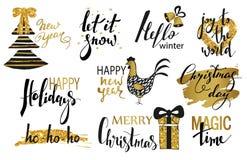Satz Text der frohen Weihnachten, Hand gezeichnete Beschriftung und guten Rutsch ins Neue Jahr-Typografie entwerfen Für Karten Ei Lizenzfreie Stockbilder