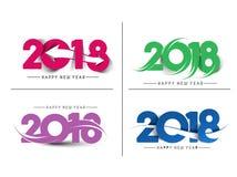 Satz Text-Design-des Musters des guten Rutsch ins Neue Jahr-2018 Lizenzfreies Stockbild