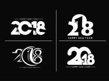 Satz Text-Design-des Rüttlers des guten Rutsch ins Neue Jahr-2018, Vektor illustrati Stockbilder