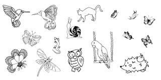 Satz Tiere und Insekten Stockbild