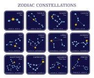 Satz Tierkreiskonstellationen in den quadratischen Rahmen lizenzfreie stockfotografie