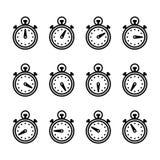 Satz Timer-Ikonen Vektor, Schwarzweißabbildung Stockfotografie
