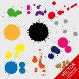 Satz Tinte Dots In Different Colors - Vektor-Illustration - lokalisiert auf transparentem Hintergrund Stockbild