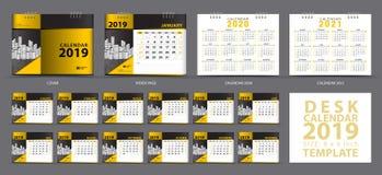 Satz-Tischkalender2019 Schablone, Satz von 12 Monaten, Kalender 2019, 2020, 2021 Grafik, Planer, Wochenanfänge am Sonntag stock abbildung
