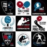 Satz Tischtennislogos, -aufkleber und -ausweise Stockbilder