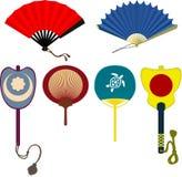 Satz traditionelle Asiatsfalte und steife Fans Stockbilder