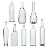 Satz transparente Glasflaschen stockfotografie