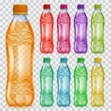 Satz transparente Plastikflaschen mit mehrfarbigen Säften stock abbildung