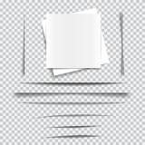 Satz transparente realistische Papierschatteneffekte Stockfotografie