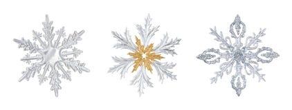 Satz transparente Schneeflocken stockfotografie