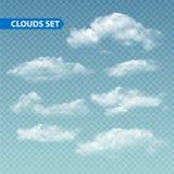 Satz transparente verschiedene Wolken Vektor Stockfoto