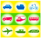 Satz Transportikonen Lizenzfreies Stockfoto