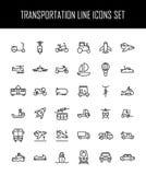 Satz Transportikonen in der modernen dünnen Linie Art Stockfotos