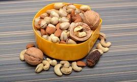 Satz trockene Früchte in einer Schüssel u. in einer Kokosschale Lizenzfreies Stockfoto