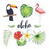 Satz Tukan, Flamingo, tropische Blätter und Blumen Stockfotos
