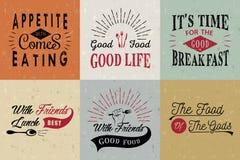 Satz typografische Zitate des Weinleselebensmittels Lizenzfreie Stockfotografie
