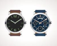 Satz Uhren der klassischen und modernen Männer Lizenzfreies Stockbild