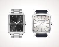 Satz Uhren der klassischen und modernen Männer Stockfoto