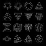 Satz unmögliche Formen Optische Illusion Vektorillustration lokalisiert auf Weiß Heilige Geometrie Weiße Linien auf a stock abbildung