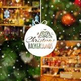 Satz unscharfe Vektor Weihnachtshintergründe Stockfotografie
