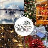 Satz unscharfe Vektor Weihnachtshintergründe Lizenzfreie Stockfotos