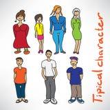 Satz unterscheidende Charaktere von Leuten in der Art Stockfotos